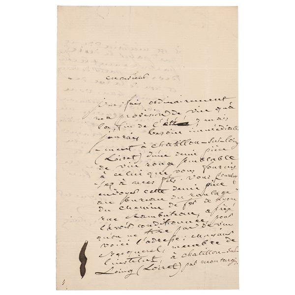Antoine Cesar Becquerel Autograph Letter Signed
