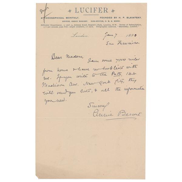 Annie Besant Autograph Letter Signed