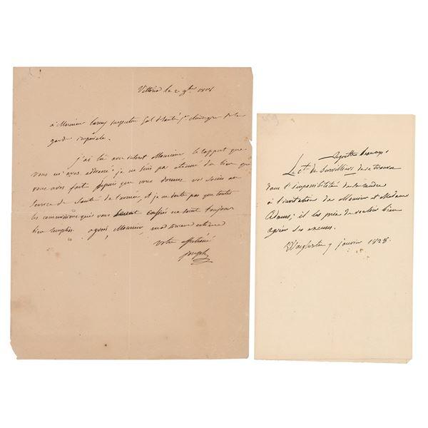 Joseph Bonaparte (2) Autograph Letters Signed