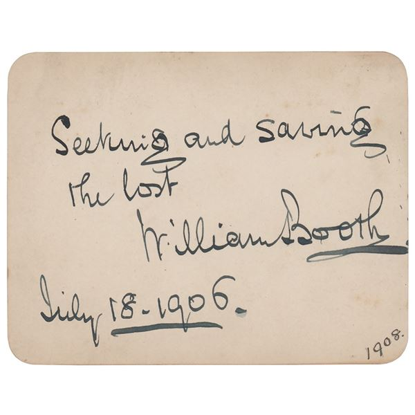 William Booth Autograph Quote Signed