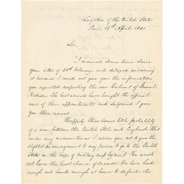 Lewis Cass Letter Signed