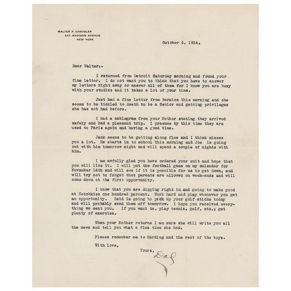 Walter Chrysler Typed Letter Signed