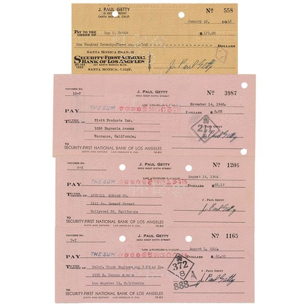 J. Paul Getty (4) Signed Checks