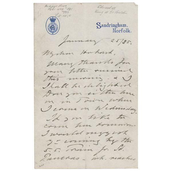 King Edward VII Autograph Letter Signed