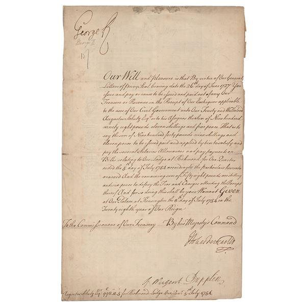 King George II Document Signed