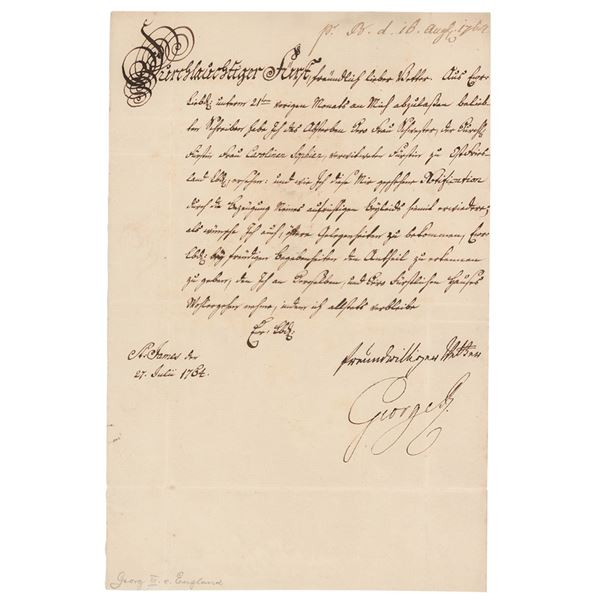 King George III Letter Signed