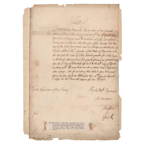 King William III Document Signed