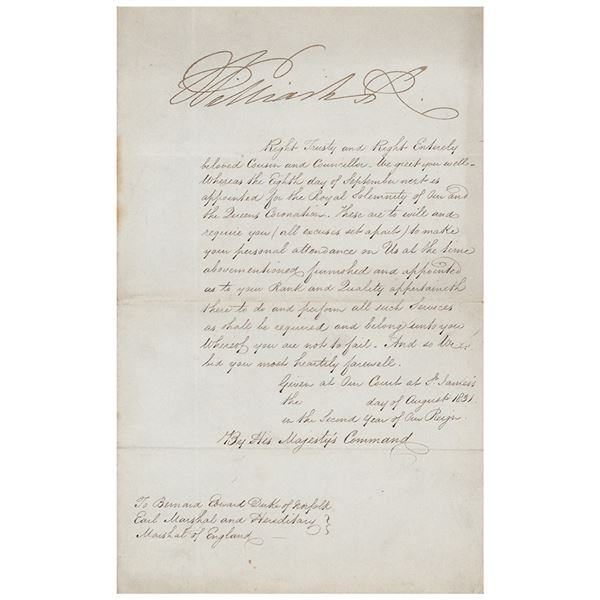 King William IV Document Signed