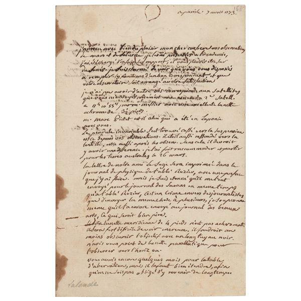Jerome Lalande Autograph Letter Signed