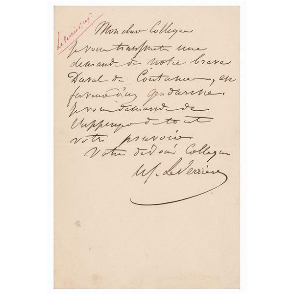 Urbain Le Verrier Autograph Letter Signed