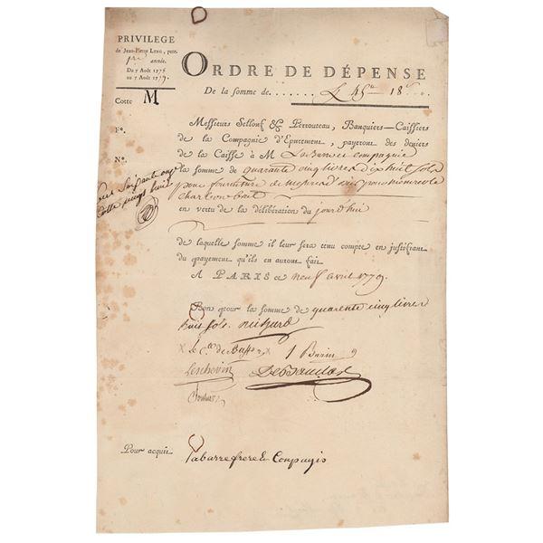 Georges-Louis Leclerc, Comte de Buffon Document Signed