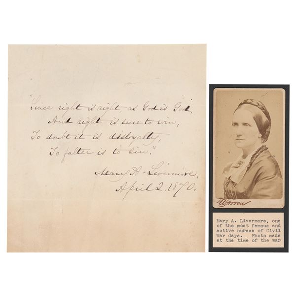 Mary Livermore Autograph Quotation Signed