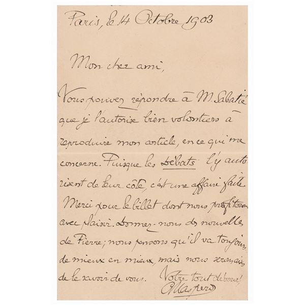 Gaston Maspero Autograph Letter Signed
