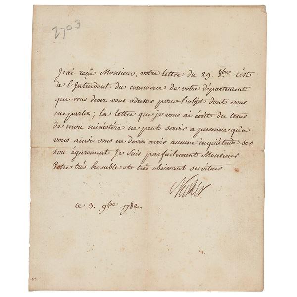 Jacques Necker Letter Signed