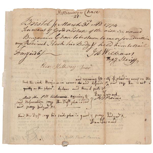 Robert Treat Paine Document Signed