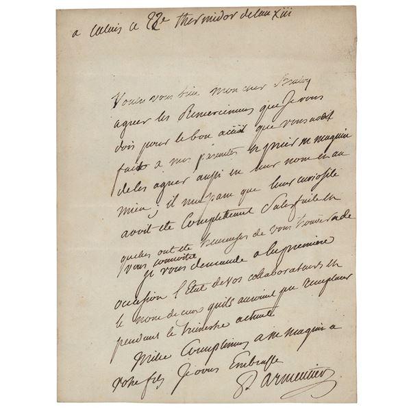 Antoine-Augustin Parmentier Autograph Letter Signed