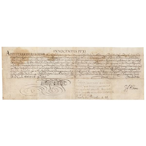 Pope Clement XI Document Signed