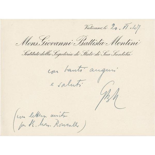 Pope Paul VI Autograph Note Signed