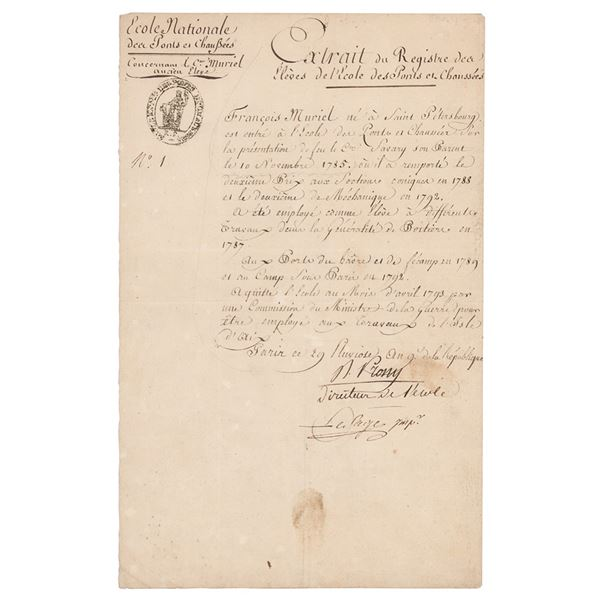 Gaspard de Prony Document Signed
