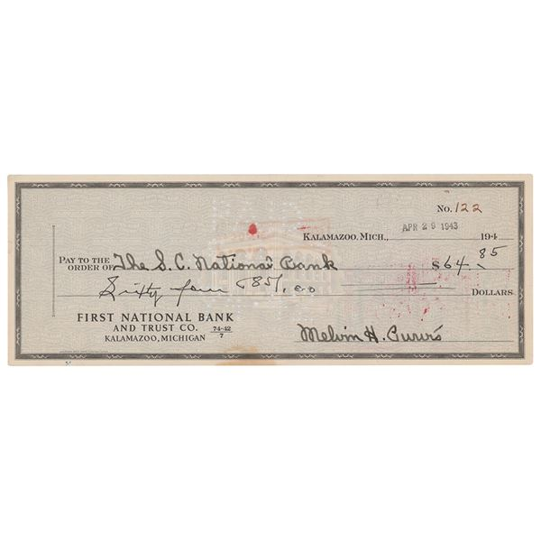 Melvin Purvis Signed Check