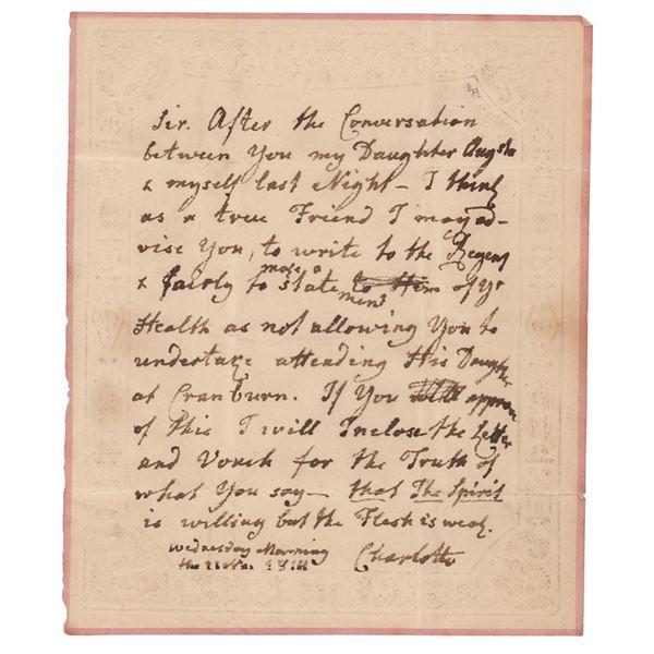 Queen Charlotte Autograph Letter Signed