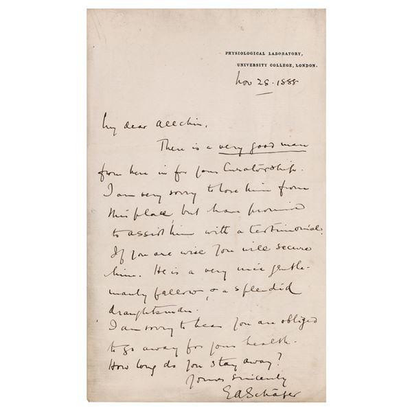 Edward Albert Sharpey-Schafer Autograph Letter Signed