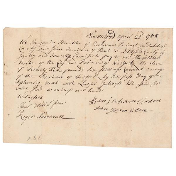 Roger Sherman Document Signed