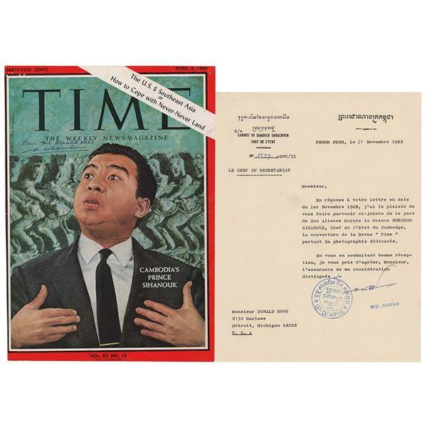 Norodom Sihanouk Signed Magazine Cover