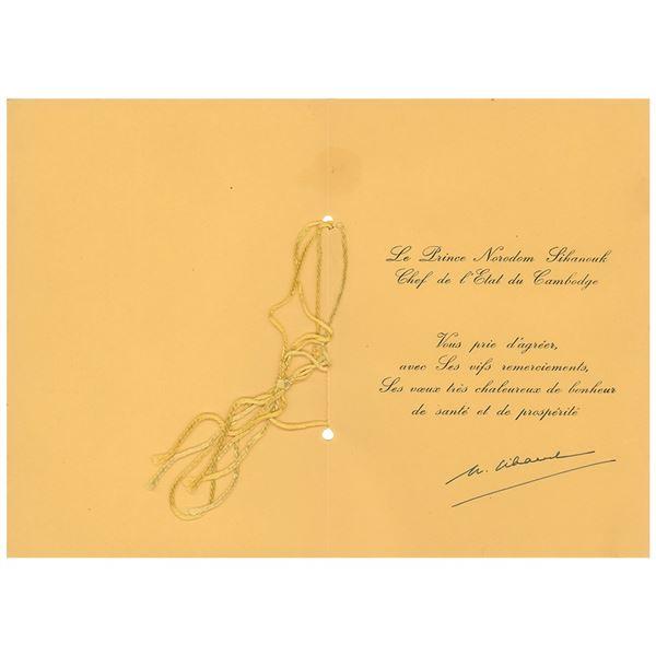 Norodom Sihanouk Signed Card