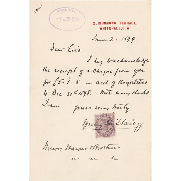 Henry M. Stanley Autograph Letter Signed