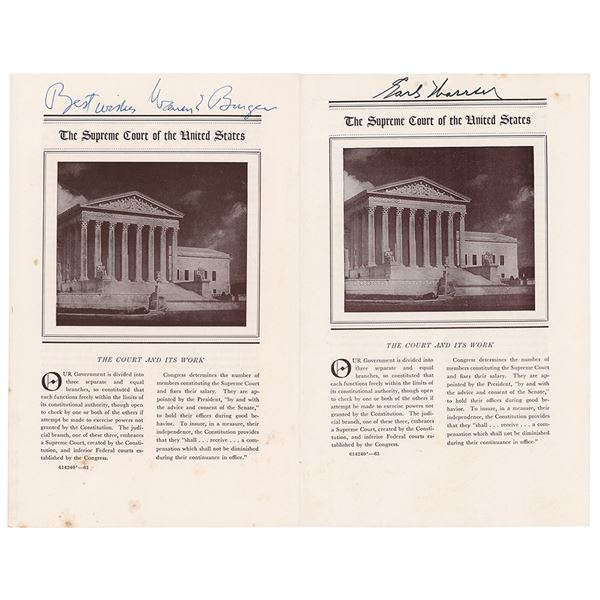 Supreme Court: Warren and Burger Signed Booklets