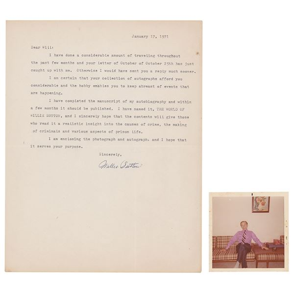 Willie Sutton Signed Photograph and Typed Letter Signed