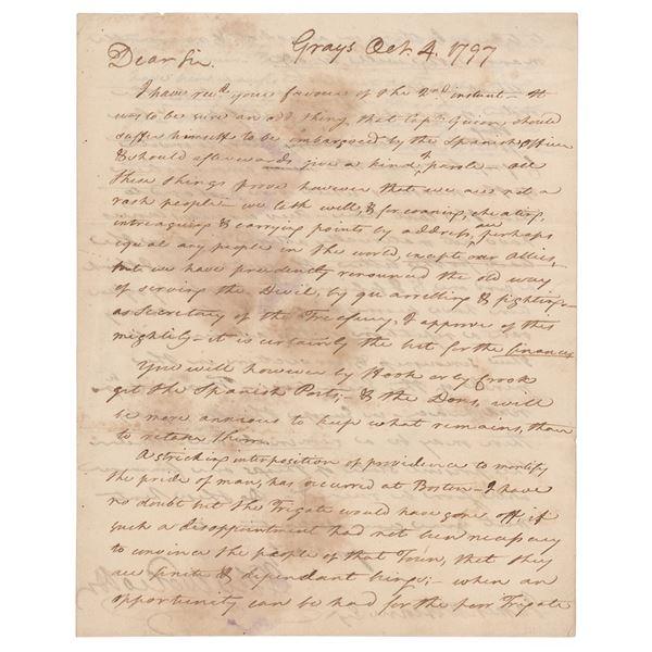 Oliver Wolcott, Jr. Autograph Letter Signed