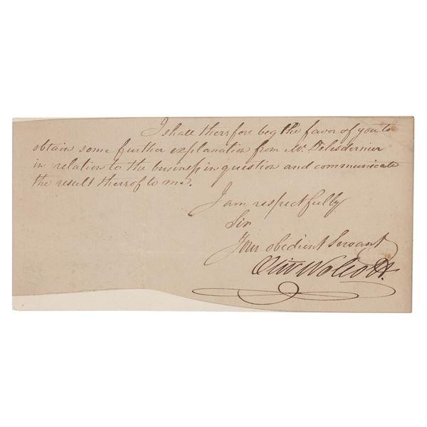 Oliver Wolcott, Jr. Partial Letter Signed