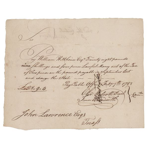 Oliver Wolcott, Jr. and Jedediah Huntington Document Signed
