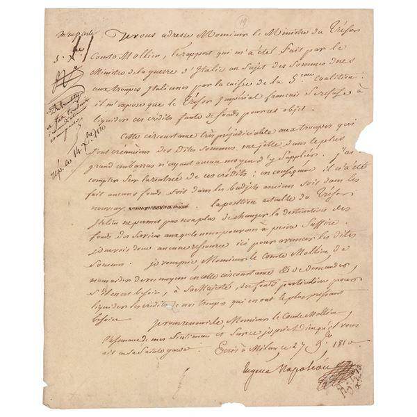 Eugene de Beauharnais Letter Signed