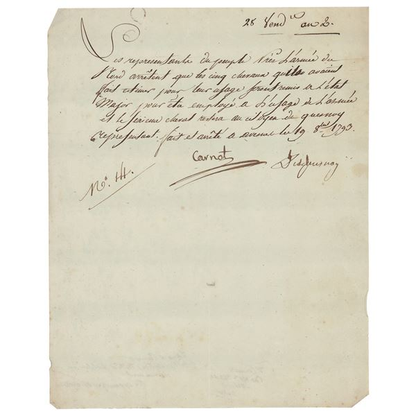 Lazare Carnot Letter Signed