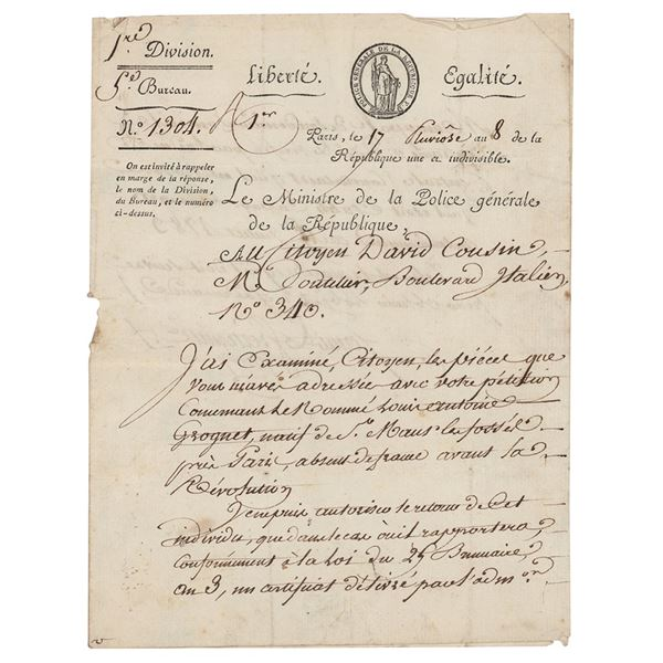 Joseph Fouche Document Signed