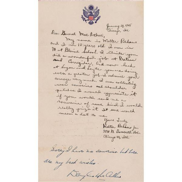 Douglas MacArthur Autograph Note Signed