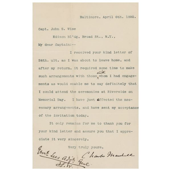 Charles Marshall Typed Letter Signed