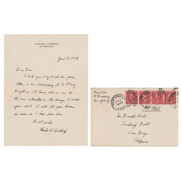 Charles Lindbergh Autograph Letter Signed
