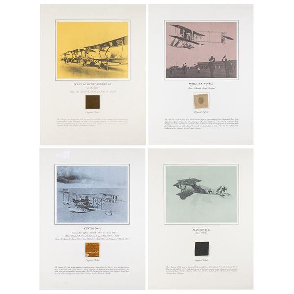 Aviation: First Flights (4) Smithsonian Relic Fabric Displays