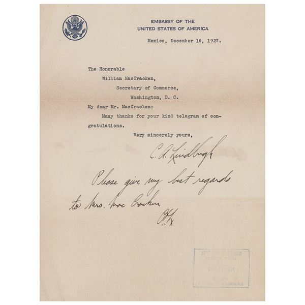 Charles Lindbergh Typed Letter Signed