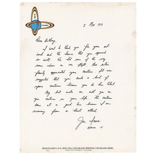 Jim Irwin Autograph Letter Signed