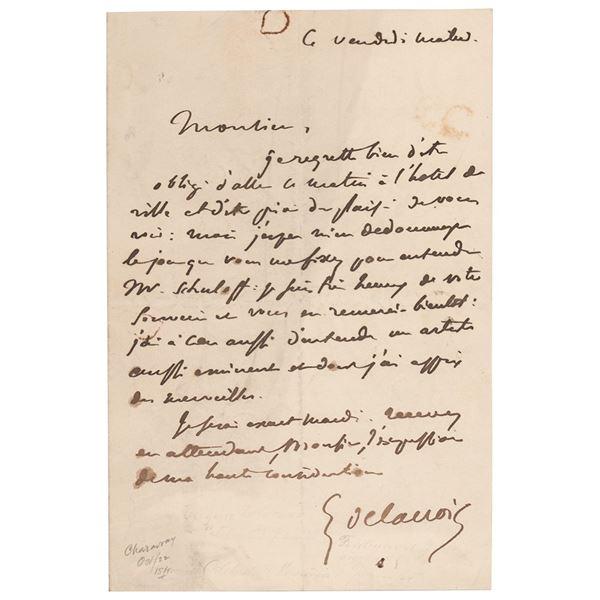 Eugene Delacroix Autograph Letter Signed