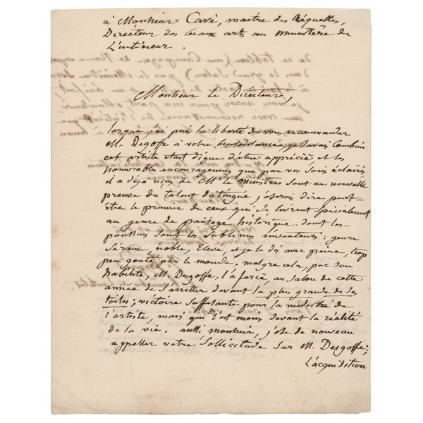 Jean Auguste Ingres Autograph Letter Signed