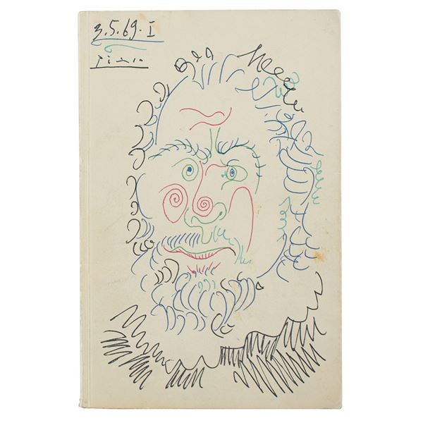 Pablo Picasso Signed Exhibition Catalog with Sketch