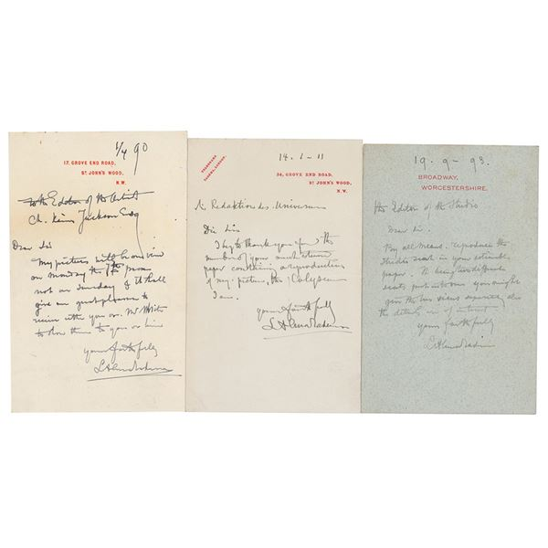 Lawrence Alma-Tadema (3) Autograph Letters Signed