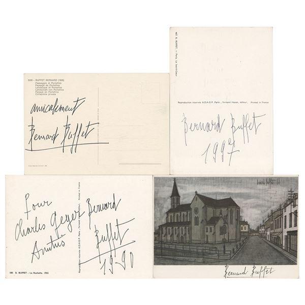 Bernard Buffet (4) Signed Postcards