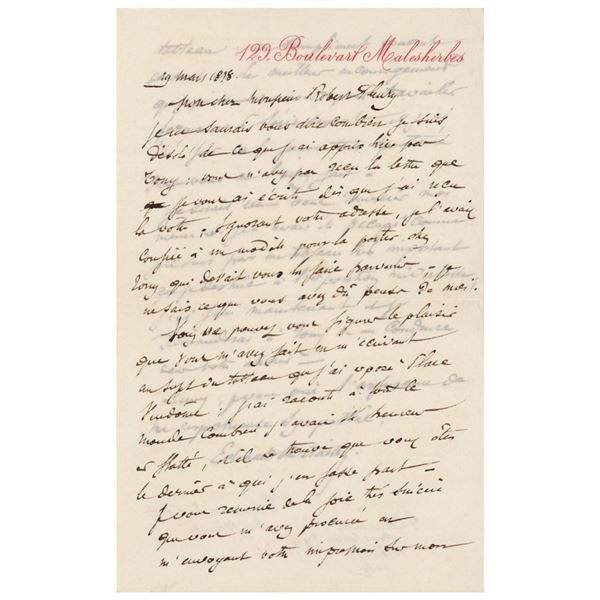 Edouard Detaille Autograph Letter Signed
